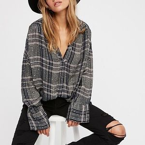 Free People Fearless Love green sequin plaid top